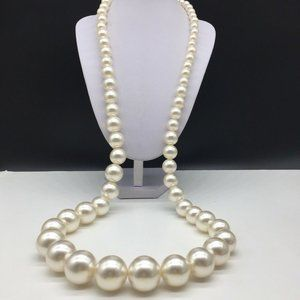 Faux Pearl Graduated Chunky Beaded Long Necklace